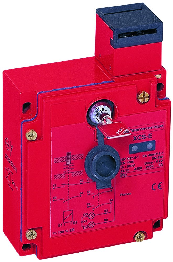 Telemecanique XCSE7533 Safety Interlock with Key, 2 NC + 1 NO, Energized Solenoid Lock, 120V AC/DC, 1/2 NPT Cable Gland, Metal Enclosure