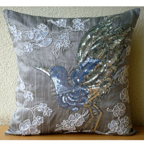 Luxury Grey Cushion Covers, Sequins & Beaded Bird Design Pillows Cover, Throw Pillow Covers 18 ...