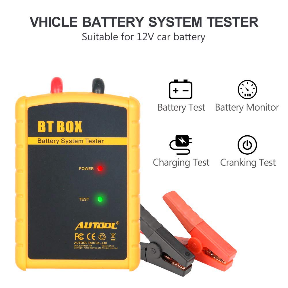 12V Car Battery Tester,AUTOOL BT Box Wireless Bluetooth Car Battery Load Tester Battery Charge Auto Diagnosis Start Analyzer Support Android iOS