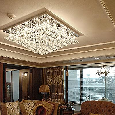 Image of 7PM W24' Modern Contemporary Elegant Square K9 Crystal Chandelier Ceiling Light Fixture Lamp Lighting 16 LED Lights Required for Living Room Bedroom Dining Room Kitchen Island Over Table Flush Mount
