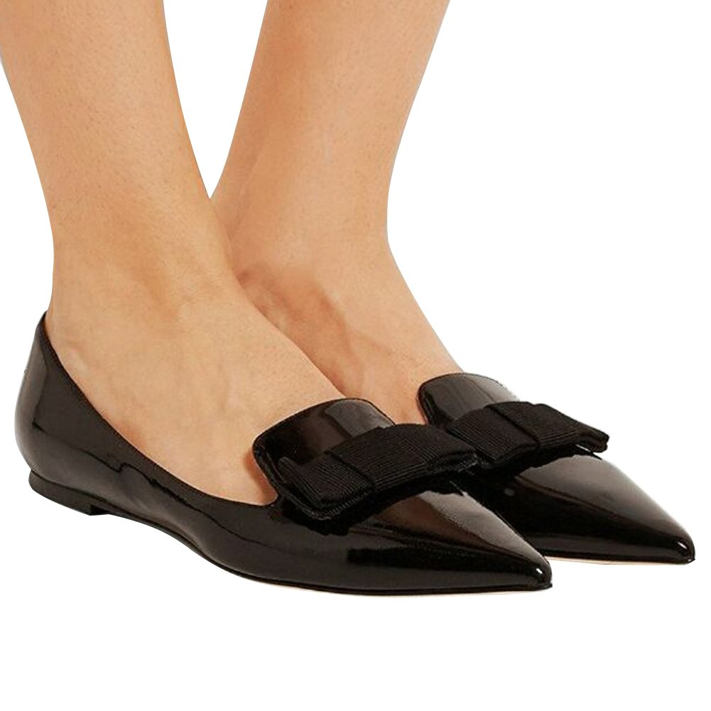 Eldof Women's Flats, Pointed Toe Flats Pumps, Patent Leather Flats Pumps, Walking Dress Office Classic Comfortable Flats B07DHJQ6RS 5 B(M) US|Black