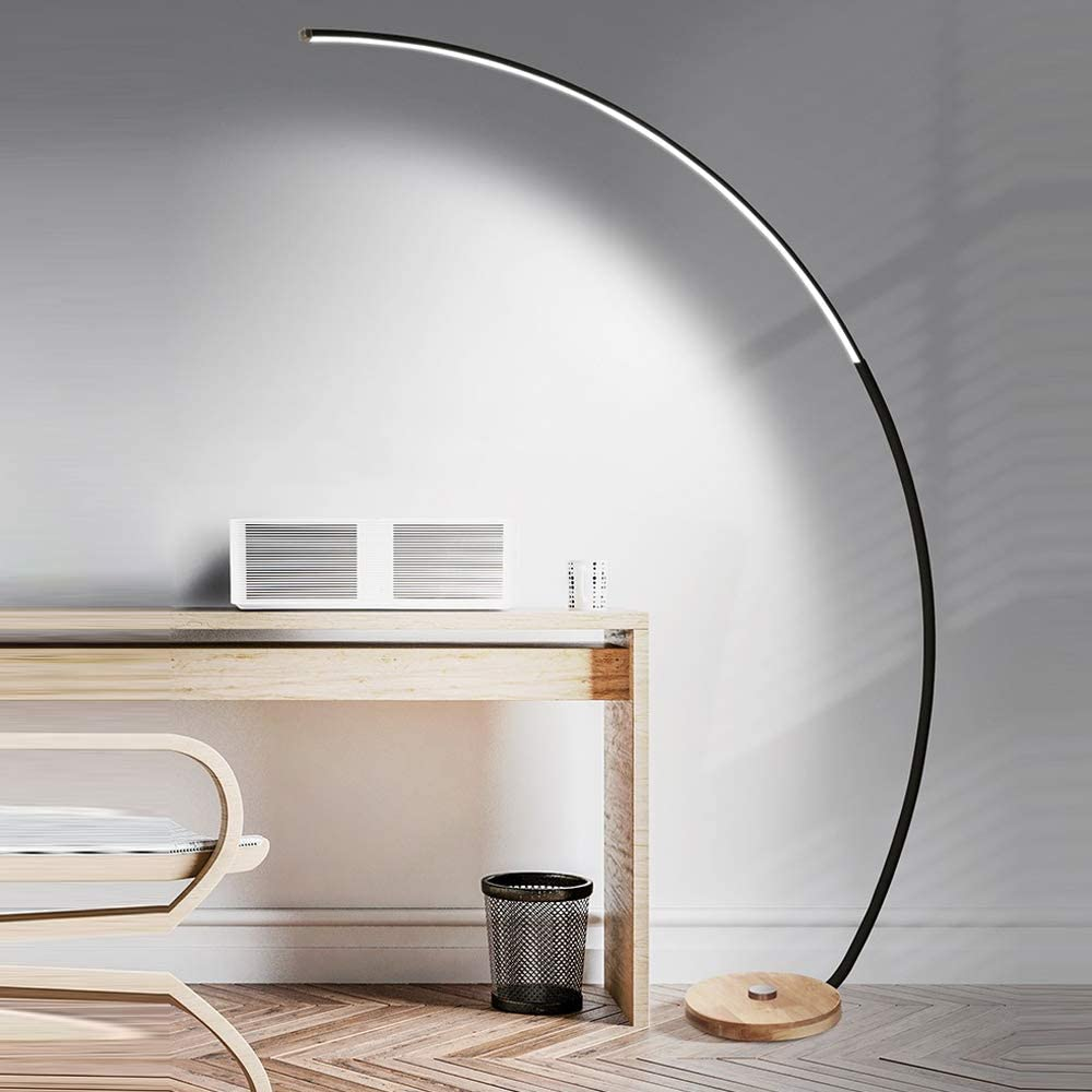 LED Bogenlampe 18W Stehleuchte Dimmbar mit Fernbedienung Stehlampe Holzfuß Bogenleuchte Bogenstandleuchte für Wohnzimmer, Schwarz, Höhe 170 cm,Weiß Black