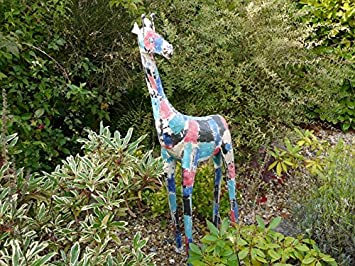 Merveilleux Fabulous Colourful GIRAFFE Aged Metal Safari Garden Statue Ornament
