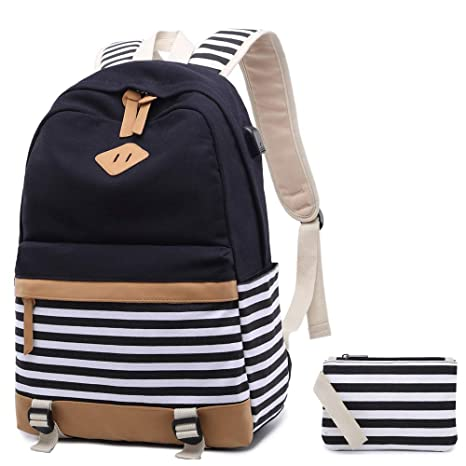 5a60b91d80af Canvas Backpack School Bags set for Teens Girls School Backpack with USB  Charging Port