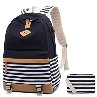 4934abba272a Canvas Backpack Girls Stripe School Bookbag Women College Backpack With USB  Port Black