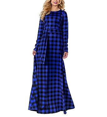 cocoepps womens o neck long sleeve plus size plaid maxi dresses christmas party dresses lan l