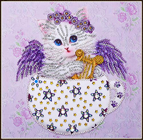 5D DIY Diamond Painting Kit, 11.8X 11.8 Inch Special Shaped Crystal Rhinestone Diamond Embroidery Paintings Pictures Arts Craft for Home Wall Decor (Cat) ()