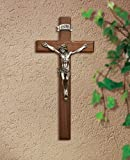 CB Catholic W04P06 6.25 in. Walnut Crucifix44; Pewter