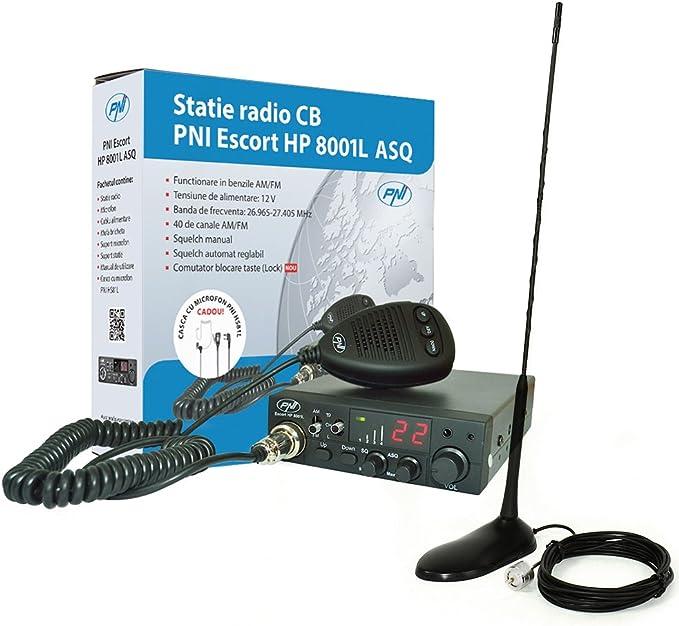 CB Radio Kit, PNI Escort HP 8001L ASQ + HS81L Auricular + CB Antena PNI Extra 45 SWR 1.0 45 cm Altura Fibra de Vidrio