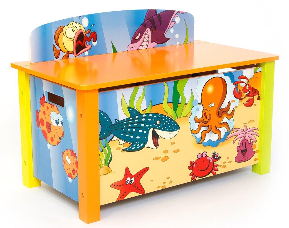 Coffre à jouer pour enfant motif poissons -PEGANE