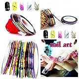 EYX Formula Nail Art Set 30 Pcs Mixed Color Nail Tape+ 1 Nail Tape Dispenser+ Nail Soaker Cap For Polish Remover
