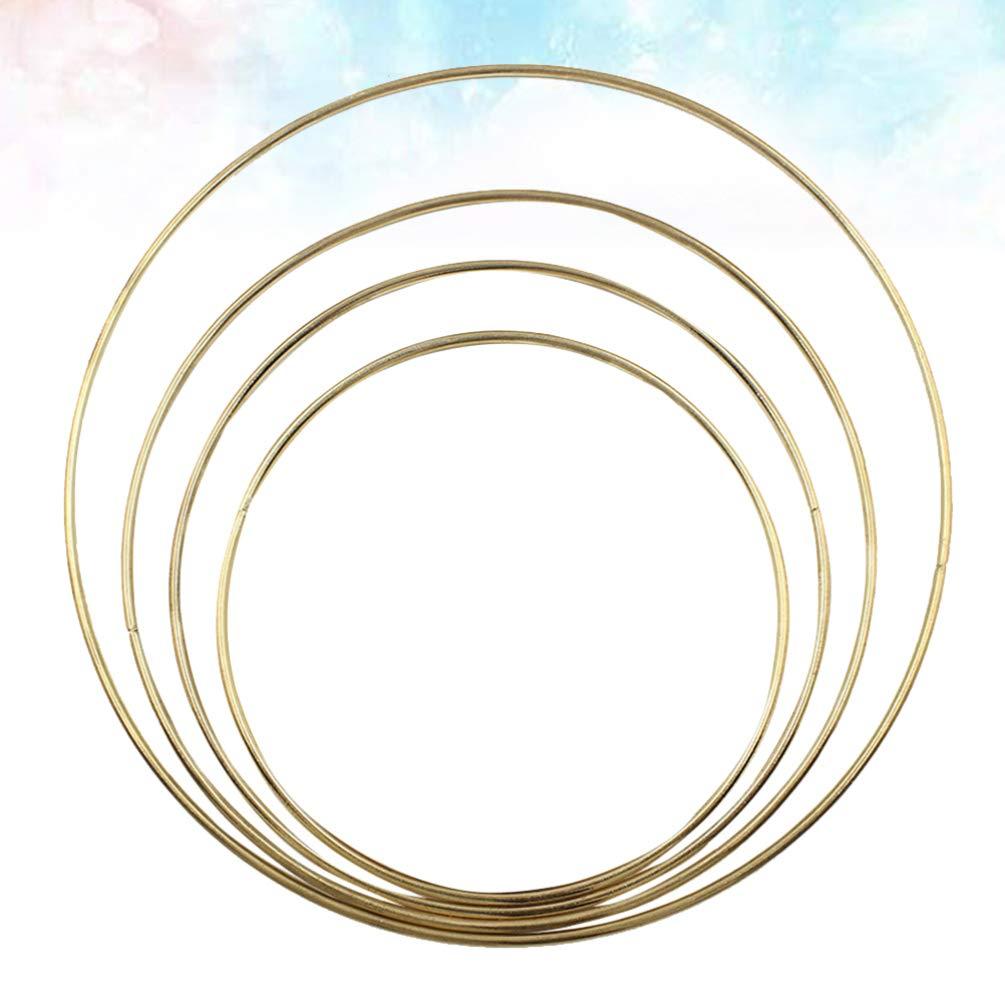 decorazione della casa artigianato 4 anelli in metallo per acchiappasogni Doitool matrimonio colore: oro anelli di macram/è