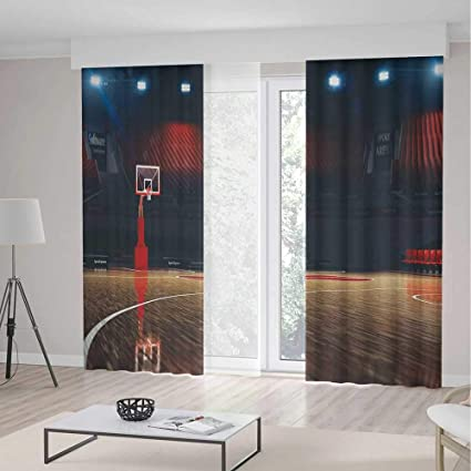 Merveilleux IPrint Sports Decor Decorations Curtains,Picture Empty Basketball Court  Sport Arena Wood Floor Print,