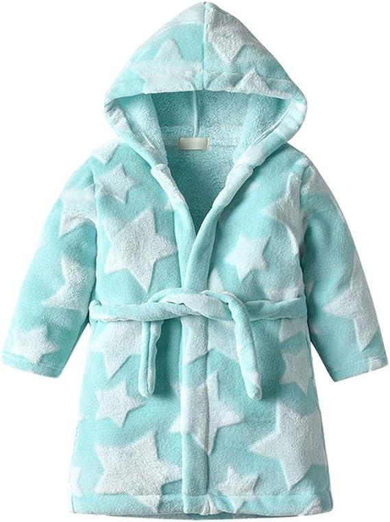 Robe de Bain pour Enfants Fannel Polaire Hoodie Motif /Étoile /À Manches Longues Bain Usure V/êtements de Nuit URMAGIC Robe de Chambre B/éb/é Unisexe
