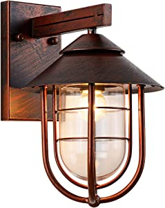 "Nautical Style Outdoor Lighting fixtures Wall Mount 13.39""H Oil Rubbed Bronze Finish with Cage Clear Glass Shade Waterproof Retro Outdoor Wall Lantern for Porch Yard Room Decor"