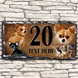 Custom Chihuahua Dog House Slate Personalised Pet Name Number Sign - 30cm x 15cm by Krafty Gifts