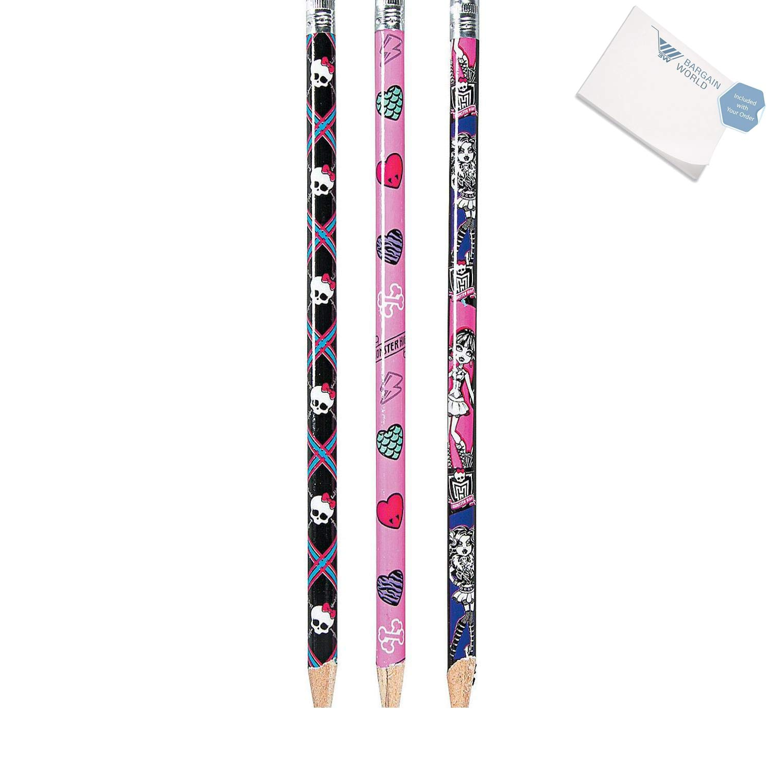 Bargain World Wood Monster High Pencils (With Sticky Notes) by Bargain World (Image #1)
