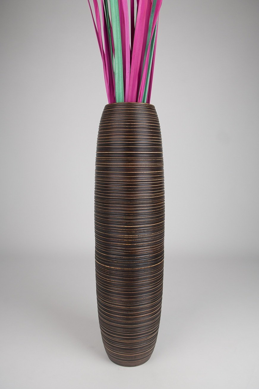 Thai Handmade Tall Floor Vase , Wood, Brown, 10''L x 10''W x 36''H. by WADSUWAN SHOP