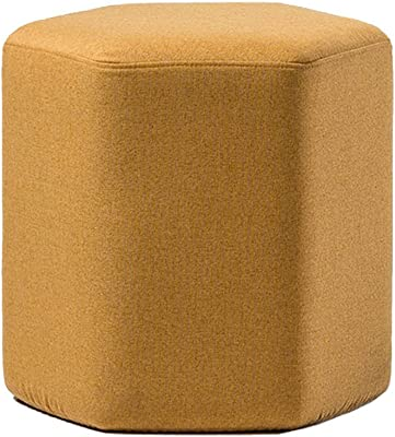 WZ Ottomans Footstool Upholstered Hexagon Ottoman Pouffe Makeup Stool Removable Linen Cover Living Room Bedroom Four Colour (Color : Yellow)