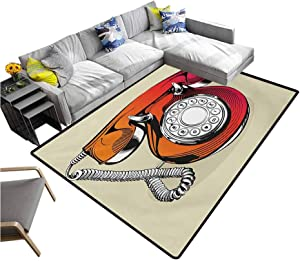 """Red Large Carpet Illustration of a Classic Retro Telephone with Numbers Vintage Art Design Print Extra Comfy and Soft Carpet Red and Beige (5'7""""x6'6"""")"""