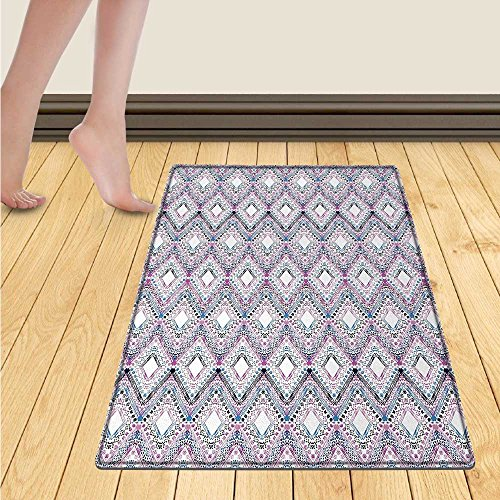 - smllmoonDecor Eyelash Bath Mat for tub Fantasy Look with Abstract Floral Makeup Design Dots Violet Summer Blossoms Door Mats for inside Bathroom Mat Non Slip Backing 24