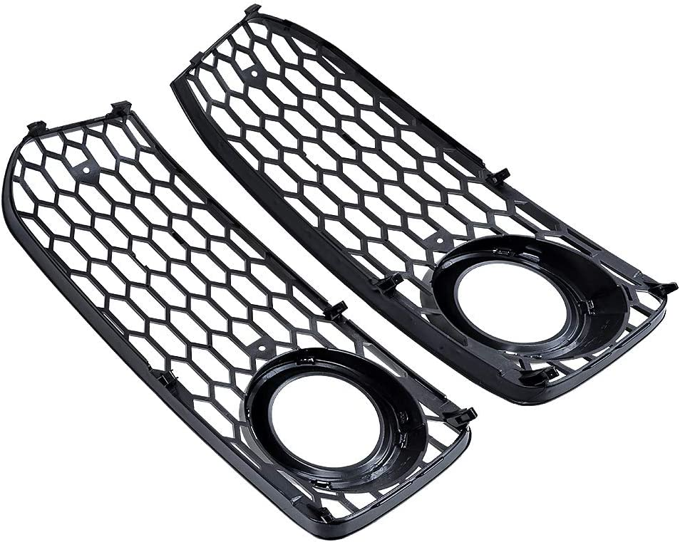 AstraDepot Left and Right Front Bumper Car Fog Light Cover Mesh Grille Compatible with 2008-2012 2009 2010 2011 Audi A5 S-Line S5 B8 RS5