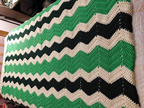Hand Crocheted Ripple Afghan, Throw, Blanket, Greens, Off White