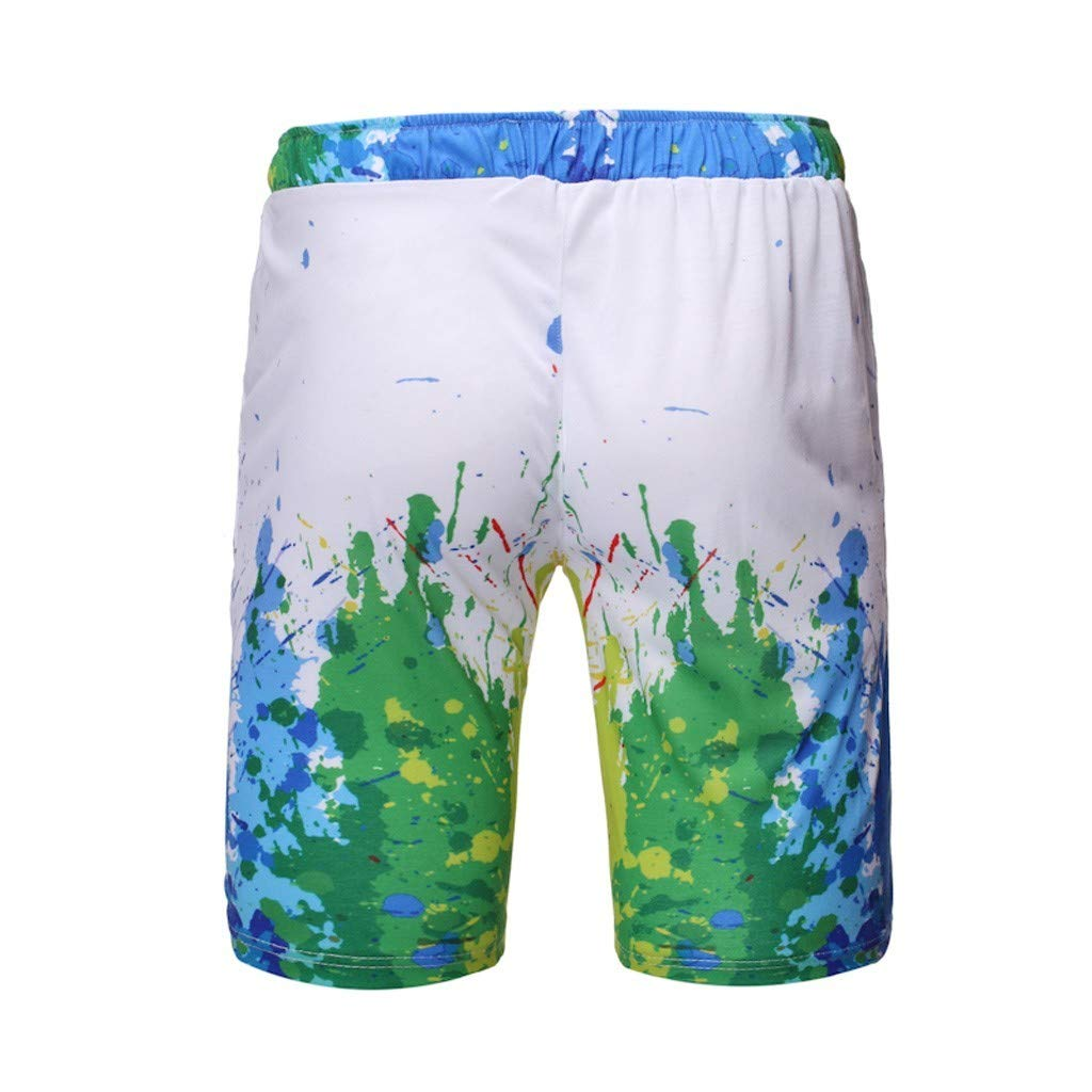 GLVSZ Mens Swim Trunks Summer 3D Print Funny Graphic Drawstring Casual Beach Shorts