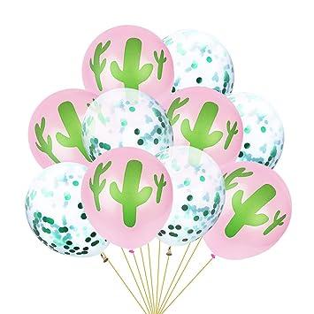 Amosfun Confeti Transparente Cactus Látex Globo Hawai Fiesta ...