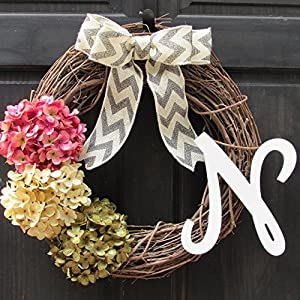 Personalized Hydrangea Grapevine Spring Summer Wreath with Monogram for Front Door Decor; Initial Letter Choice; Pink, Cream and Green 120