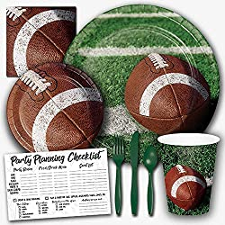Honey Dew Gifts Tailgate Rush Football Theme Party Supplies Set - Serves 8 Guests