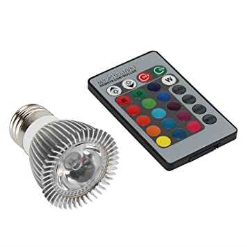 SUPERNIGHT 3W E27 RGB LED Light Bulb With Remote Control 16 Changeable  Colors Multi Color