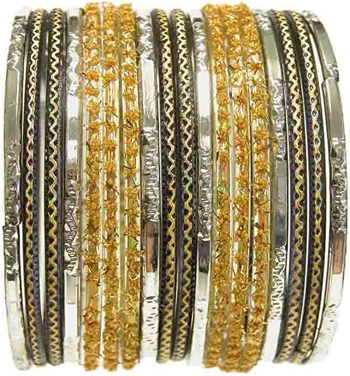 Beachcombers 18 Individual Glass Bangles Size 2.10 ML Red Gold Classic Sari Bracelets Bollywood Belly Dance Fashion Jewelry Set