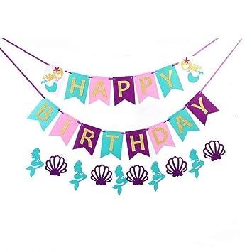 Amazon.com: efoot 3PCS Mermaid Princess Happy Birthday ...