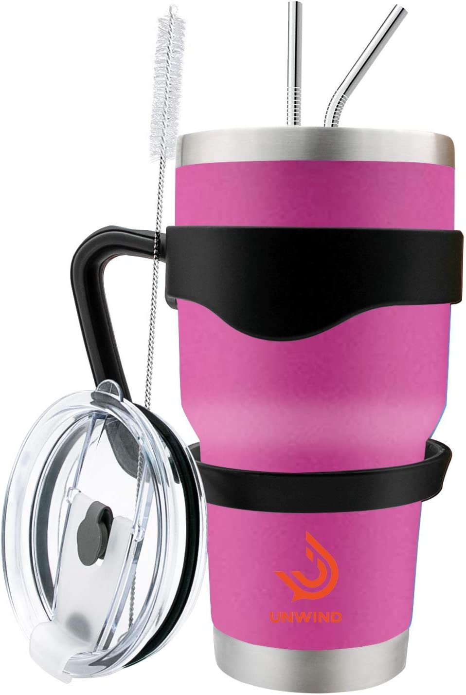 Unwind 30 oz Stainless Steel Tumbler Vacuum Insulated Coffee Cup Large Travel Mug Works Great for Ice Drinks and Hot Beverage - Pink