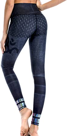 sky blue black galaxy knee length yoga dance side pocket leggings
