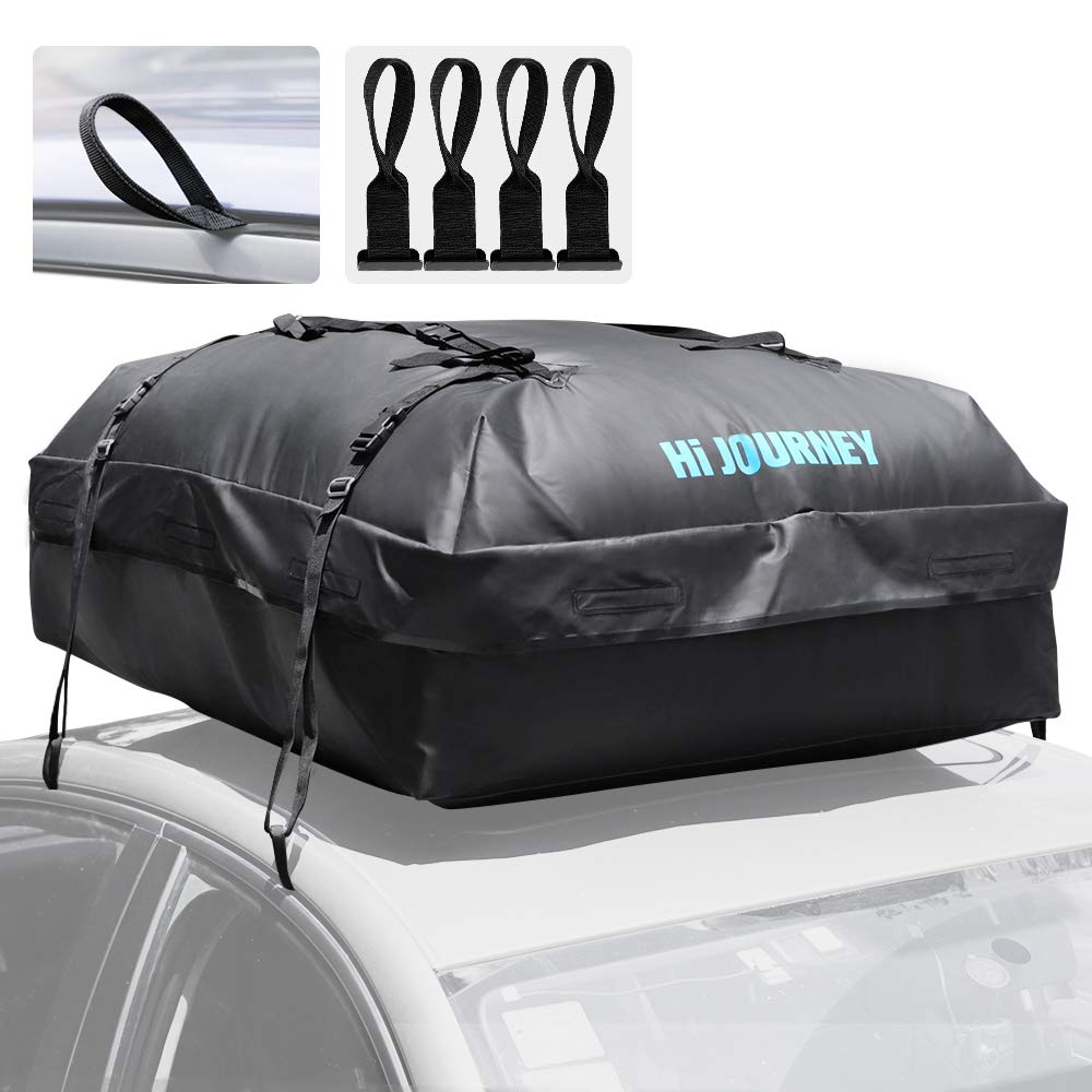 Rabbitgoo Rooftop Cargo Carrier Waterproof Car Roof Top Cargo Bag with Heavy Duty Straps, Soft Shell Luggage Storage Bag for Vehicles with/Without Roof Racks, Large Capacity 15 Cubic Feet by Rabbitgoo