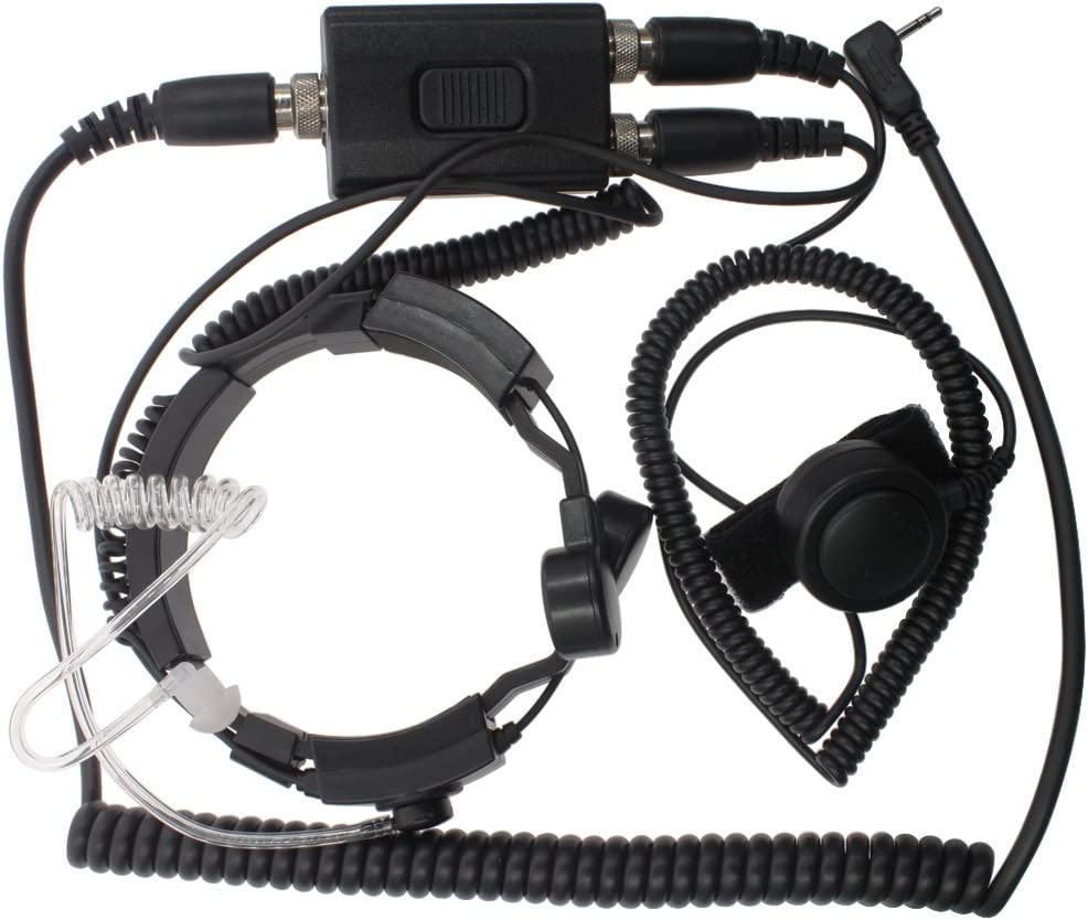 DONG 1Pin Military Covert Grade Tactical IP54 Waterproof PTT Anti-Noise Throat Mic Earpiece Headset