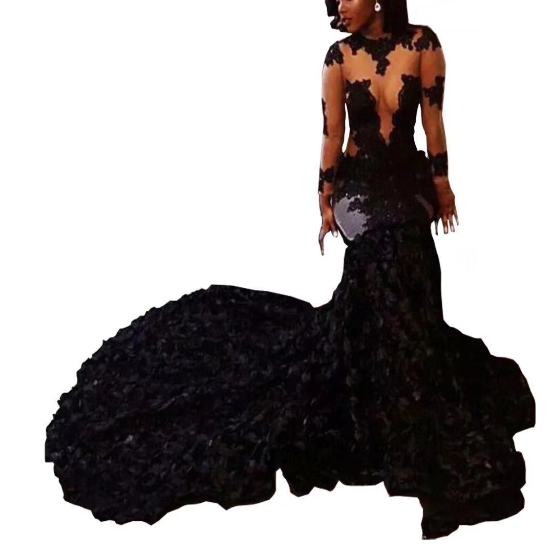 Black XingMeng Sheer Long Sleeve Mermaid Prom Dress Hand Made Flowers Applique Formal Evening Dress