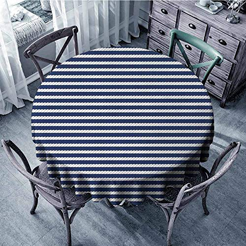ScottDecor Pattern Round Tablecloth Navy Blue,Yacht Navy Marine Themed Rope Stripe Pattern on Dark Blue Background,Navy Blue and White Wrinkle Free Tablecloths Diameter 36