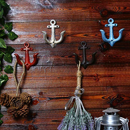 - Metal Anchor Hook Wall Door Mounted Clothes Towel Key Hanger Holder Red