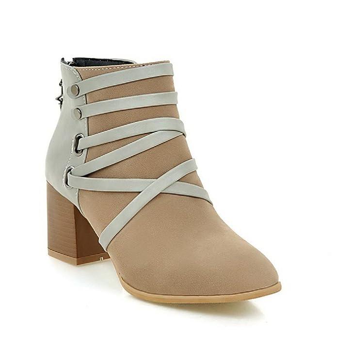 VogueZone009 Damen Gemischte Farbe Quadratisch Zehe Stiefel mit Metall Nägel, Aprikosen Farbe, 36