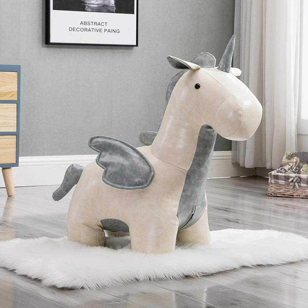 Upholstered Footstool Cartoon Animal Stool Shoe Bench Small Seat Sofa Bench,Creative Pegasus Stepping Stool,Synthetic Leather Color : Red