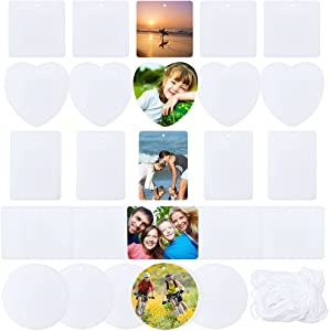 50 Pieces Air Freshener Sheets Printable Sublimation Felt Car Air Freshener Sheet DIY Car Aromatherapy Sheet and Elastic Rope for Car Interior and Home Decoration