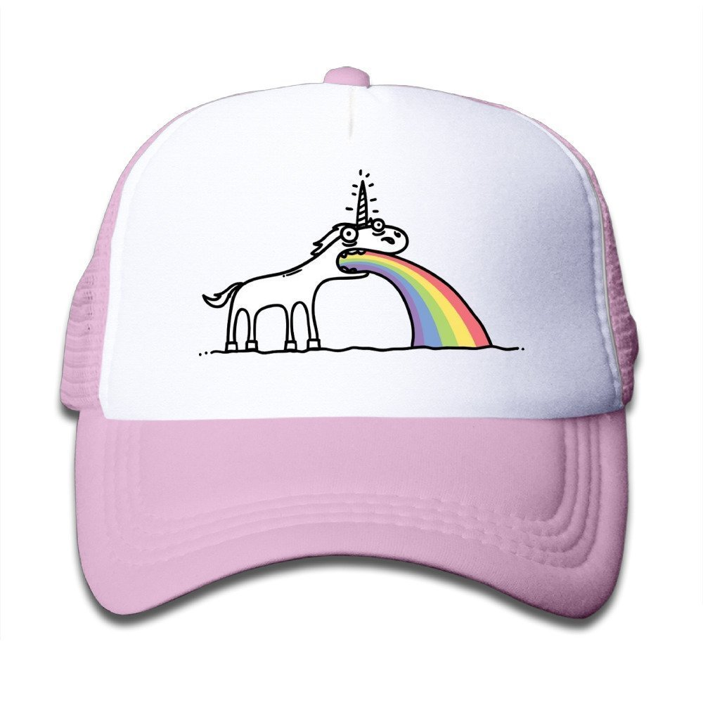 Custom Small-Fry Flat Billed Rainbow Unicorn Running Hats Caps Pink