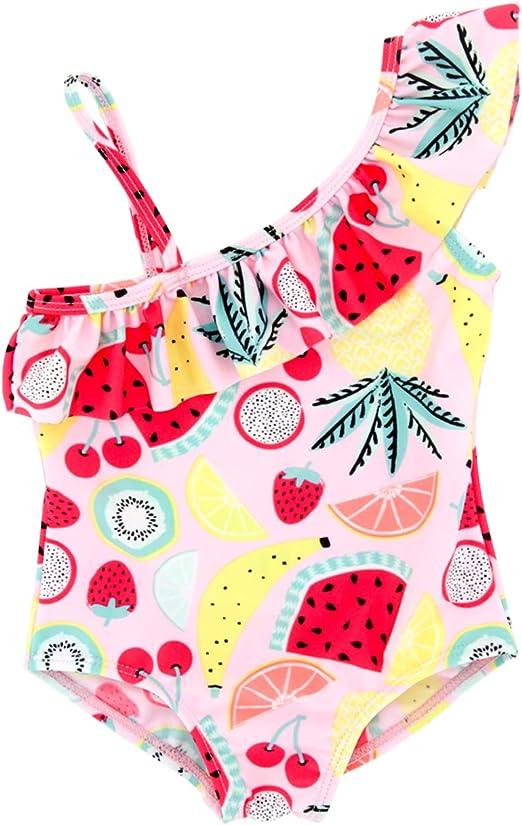 iixpin Kids Girls 2 Piece Rash Guard Swimwear Short Sleeves Sun Protection Swimsuit Flower Printed Bathing Suit