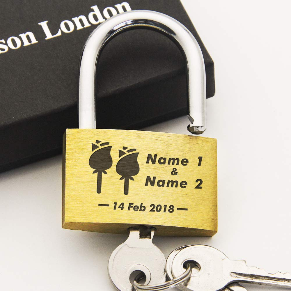 Wedding Present Love Lock Personalised Engraved Padlock Comes in Free Gift Box Annivesary Gift