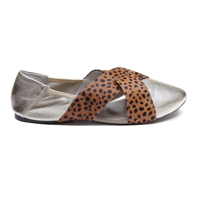 Cocorose Zapatos Plegables - Hackney Cuero Ballerinas Mujer Gold & Leopardo
