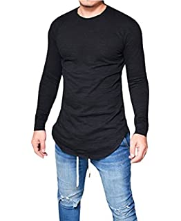 8a2b62b2a5 LIWEIKE Mens Solid Extended Hipster Hip Hop Swag Curve Hem Long Sleeve T  Shirt