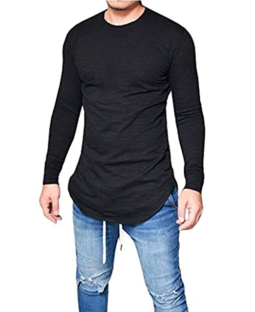 LIWEIKE Mens Solid Extended Hipster Hip Hop Swag Curve Hem Long Sleeve T  Shirt (Black 8d552df63
